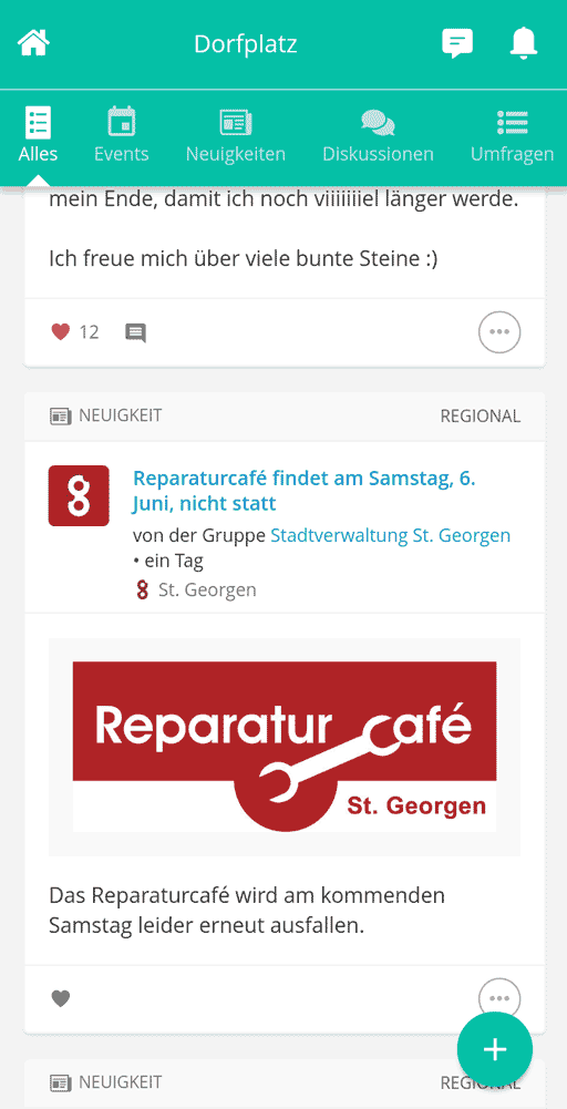 Screenshot der Bürger-App