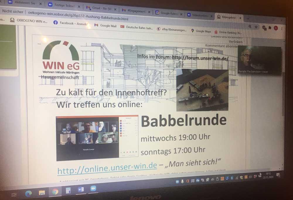 Foto der Babbelrunde, Internetseite des Projekts